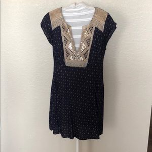 Navy Dress with gold details